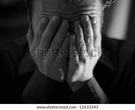 Worried Man - Front View - stock photo