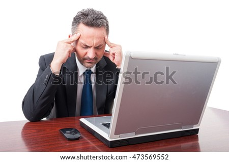 Worried manager thinking at something or having migraine on white studio background