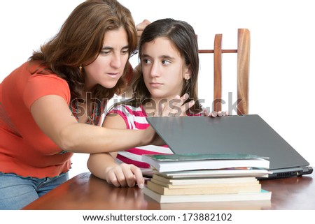 Worried mother checks her daughter internet activity (isolated on white) - stock photo