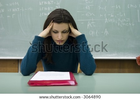 worried student - stock photo