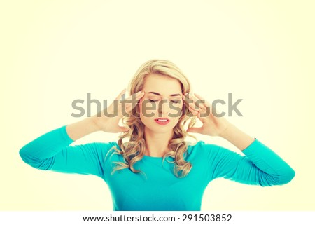 Worried woman have big problem - stock photo