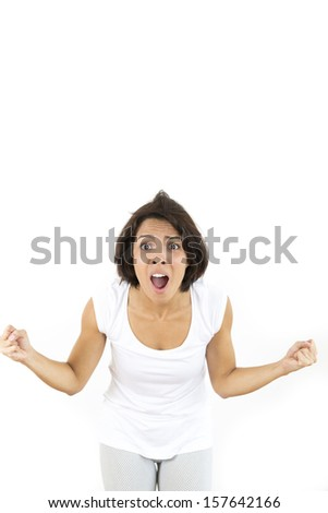 Worried Woman Over White Background - stock photo
