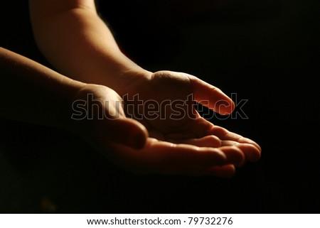 Worshiping hands - stock photo
