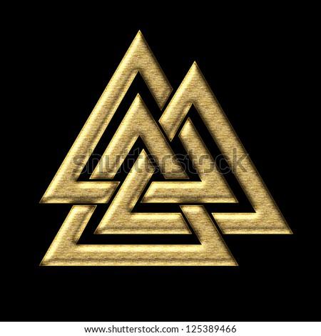 Wotan`s Knot Gold / Valknut / Odin, triangle, - stock photo