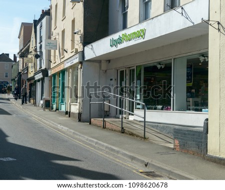 Wotton-under-Edge, England - May 10, 2018: Lloyds Pharmacy on Long Street, also known as Cotswolds Way