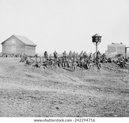 Wounded African-American soldiers with Army of the James, resting at Aiken's Landing, Virginia. The Richmond-Petersburg Campaign, fought from June 1864, to March 1865. - stock photo