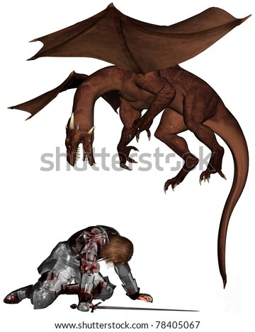 Wounded knight in bloodstained armour being attacked by a dragon, 3d digitally rendered illustration - stock photo