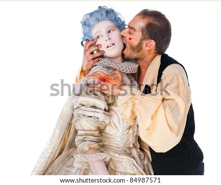 Wounded male vampire biting medielal woman isolated on white background
