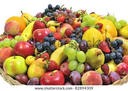 woven basket full of fruit - stock photo