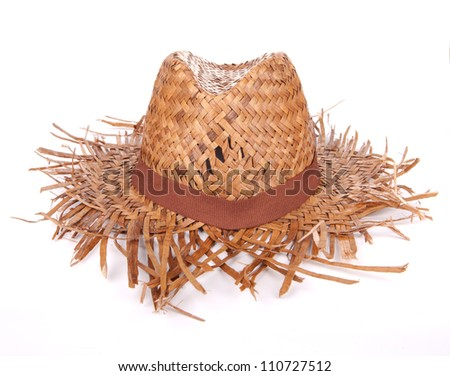 Woven Hat on white background - stock photo