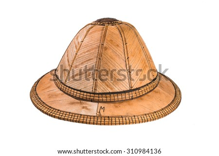 woven hats on white background - stock photo