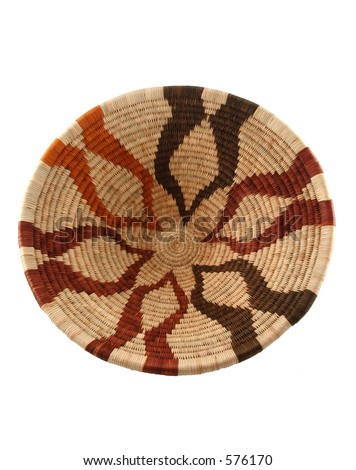 Woven open basket from Botswana. Made from the fiber of the Mokola palm tree. - stock photo