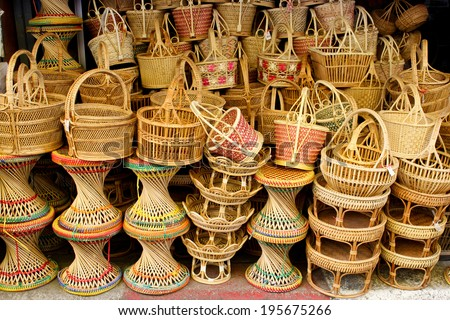 woven rattan Chair and basket - stock photo