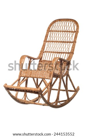 Woven wooden rocking chair isolated on white background - stock photo