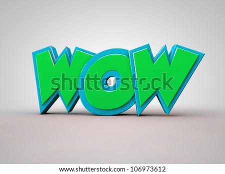 WOW text Green - stock photo