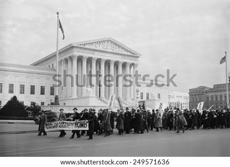 WPA protest march in front of the U.S. Supreme Court, Jan. 16, 1937. A multiracial group of men and women demonstrated for expansion of the WPA. - stock photo