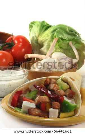 Wrap filled with colorful salad and turkey strips