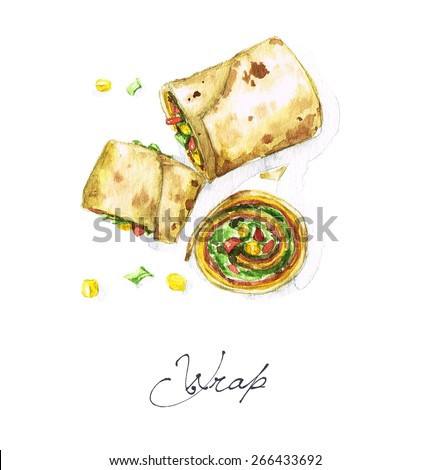 Wrap - Watercolor Food Collection - stock photo