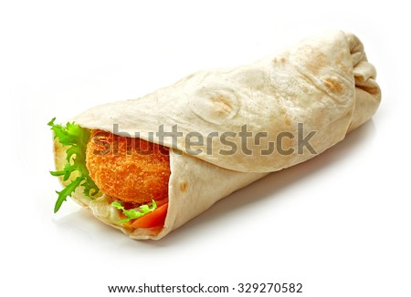 Wrap with fried chicken and vegetables isolated on white background - stock photo