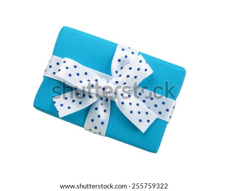 Wrapped blue gift box with ribbon bow, isolated on white - stock photo