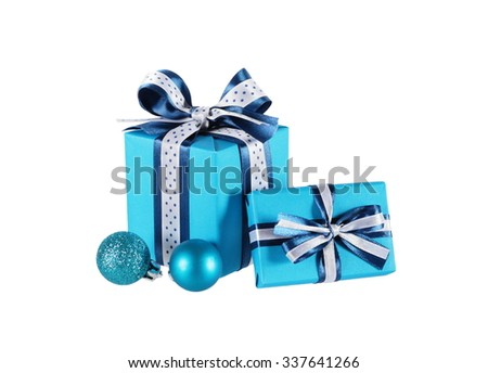 wrapped blue gift boxes and Christmas balls, isolated on white