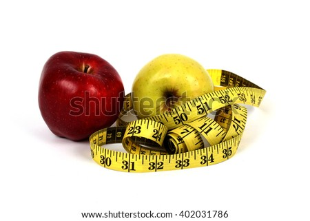 wrapped centimeter diet red apple on a white background