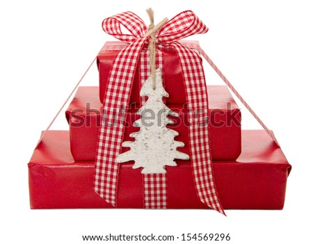 Wrapped Christmas presents - stock photo