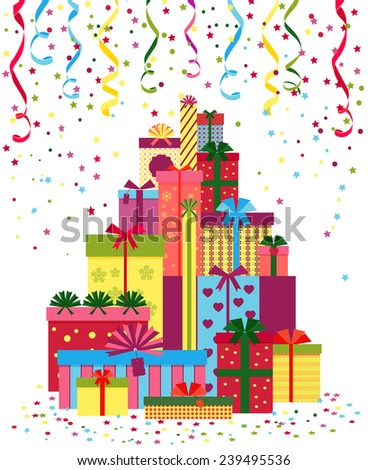 Wrapped presents or gift boxes stack. Pile of gifts wrapped in colorful paper and tied with ribbons. Christmas, New Year - stock photo