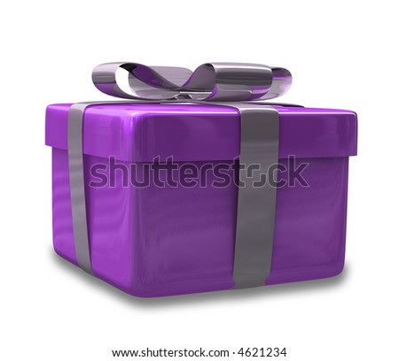 wrapped purple gift (3D)
