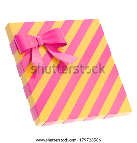 Wrapped yellow  gift box with a purple magenta bow and ribbon isolated over white background, 3d render illustration - stock photo
