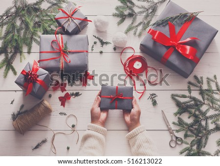 Creative Hobby Gift Wrapping Packaging Modern Stock Photo