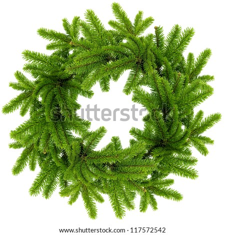 Wreath from the branches of christmas tree isolated on white - stock photo
