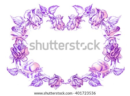 Wreath, garland of roses. Pencil drawing - stock photo