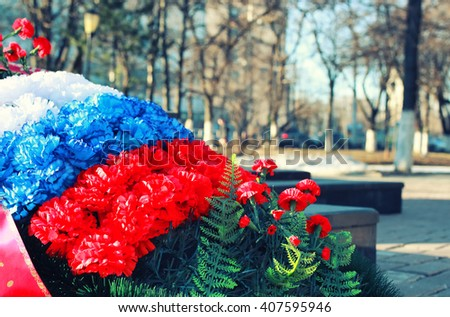 wreath of carnations  - stock photo