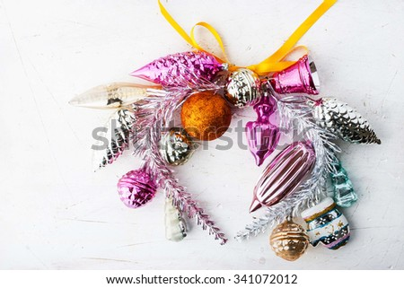 Wreath of Christmas decorations - stock photo