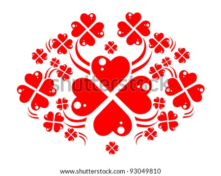 wreath of red hearts like four-leaved clovers