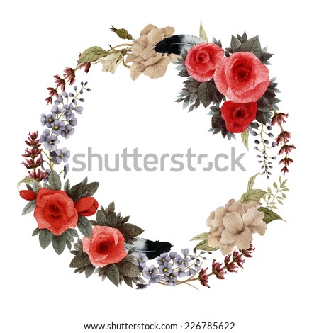 Wreath of rose, chrysanthemum and delphinium , watercolor, can be used as greeting card, invitation card for wedding, birthday and other holiday and  summer background  - stock photo