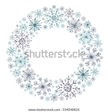 Wreath of snowflakes. Watercolor decorative frame for Christmas and New Year design - stock photo