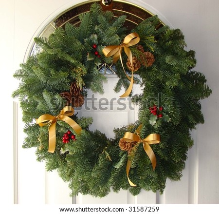 Wreath on Door - stock photo