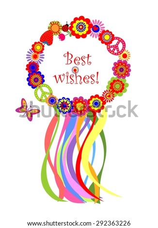 Wreath with colorful strips and flowers - stock photo