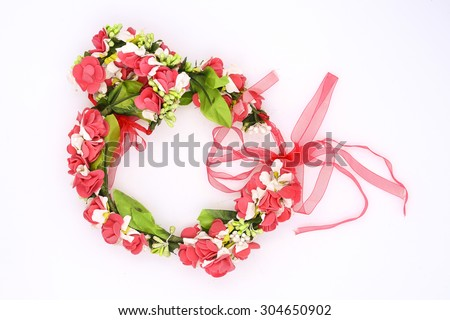wreath with red roses isolated on white - stock photo