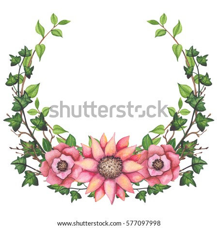 wreath watercolor ivy light pink flowers stock illustration