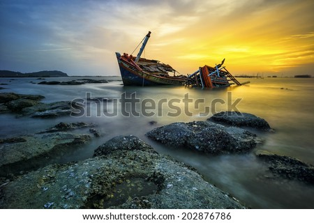 wreck boat - stock photo