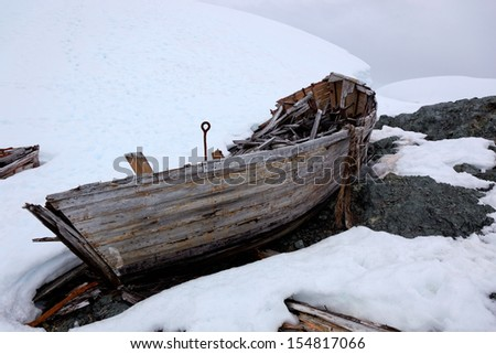 Wreck of an old abandoned whaling boat in Antarctica, which belonged to the whaling ship Governoren, a Norwegian whaler that caught fire and got aground in Foyn Harbor, Antarctica - stock photo