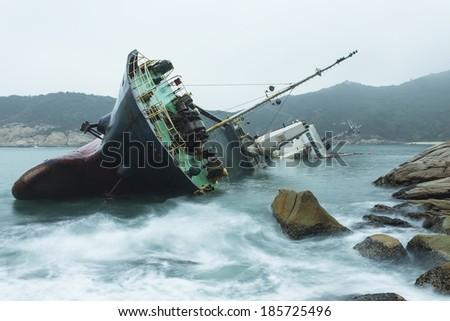 Wreck on the coast  - stock photo