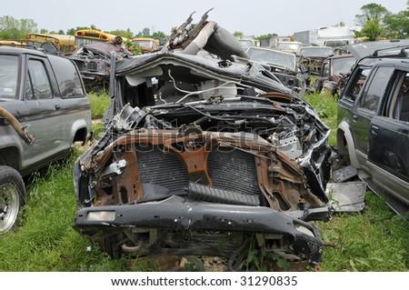 Wrecked Automobile - stock photo
