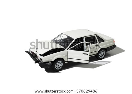Wrecked automobile (Model) - stock photo