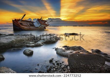 wrecked ship - stock photo