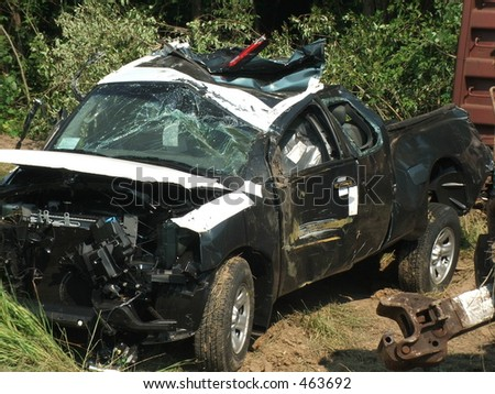 wrecked truck - stock photo