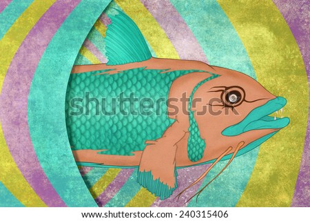 Wreckfish, colorful illustration of a fish leaving his cosmic cavern. - stock photo